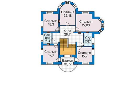 Проект кирпичного дома 42-55 план