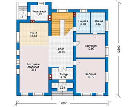 Проект кирпичного дома 42-59 план