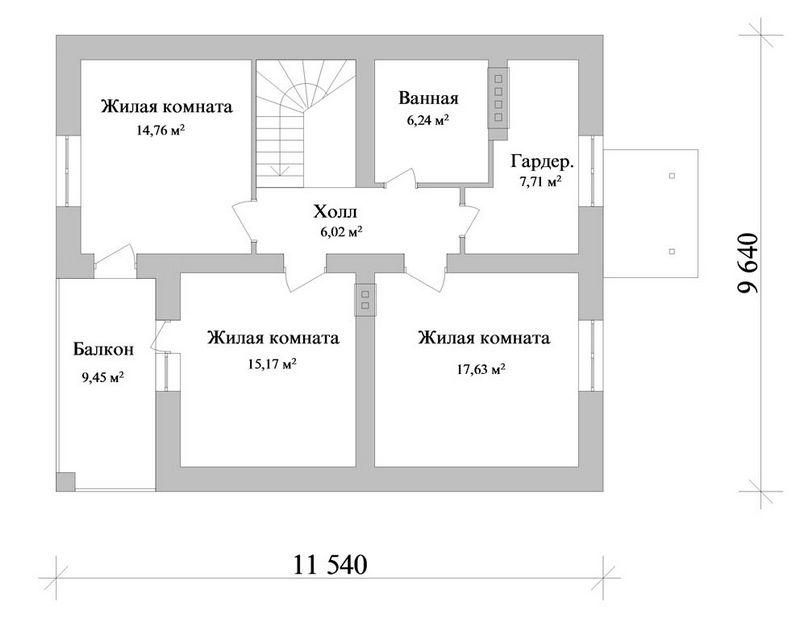 Готовый эскизный проект коттеджа с мансардой B-079 план