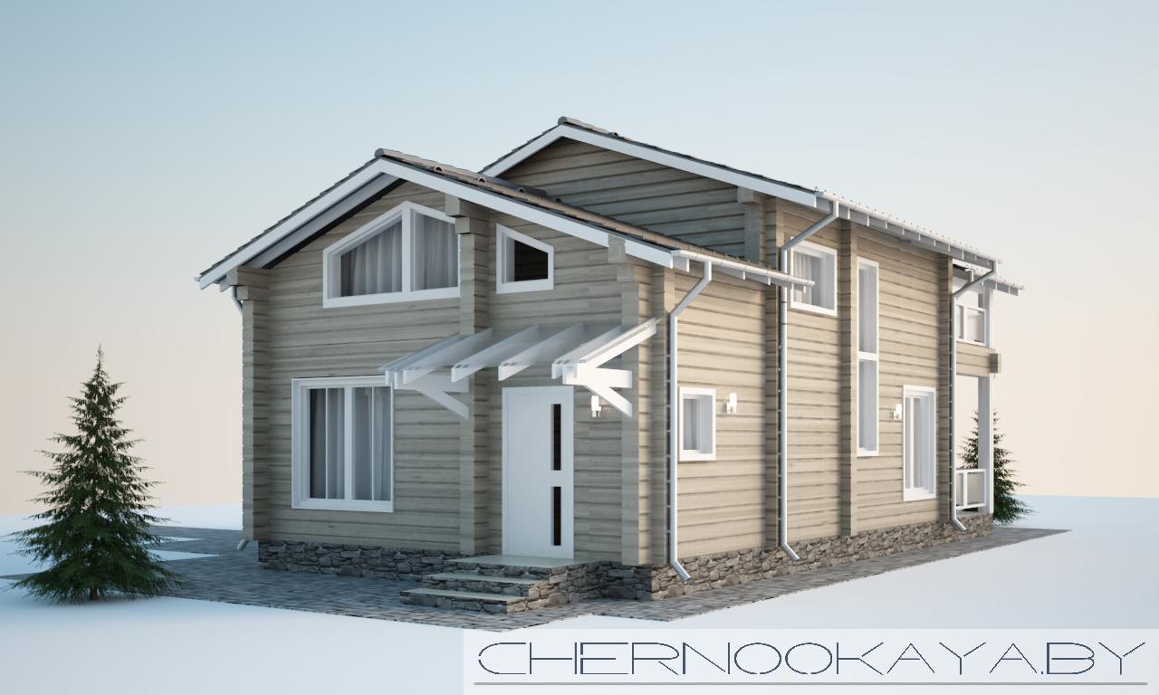 Проект деревянного гостевого дома-бани №1588 фасад