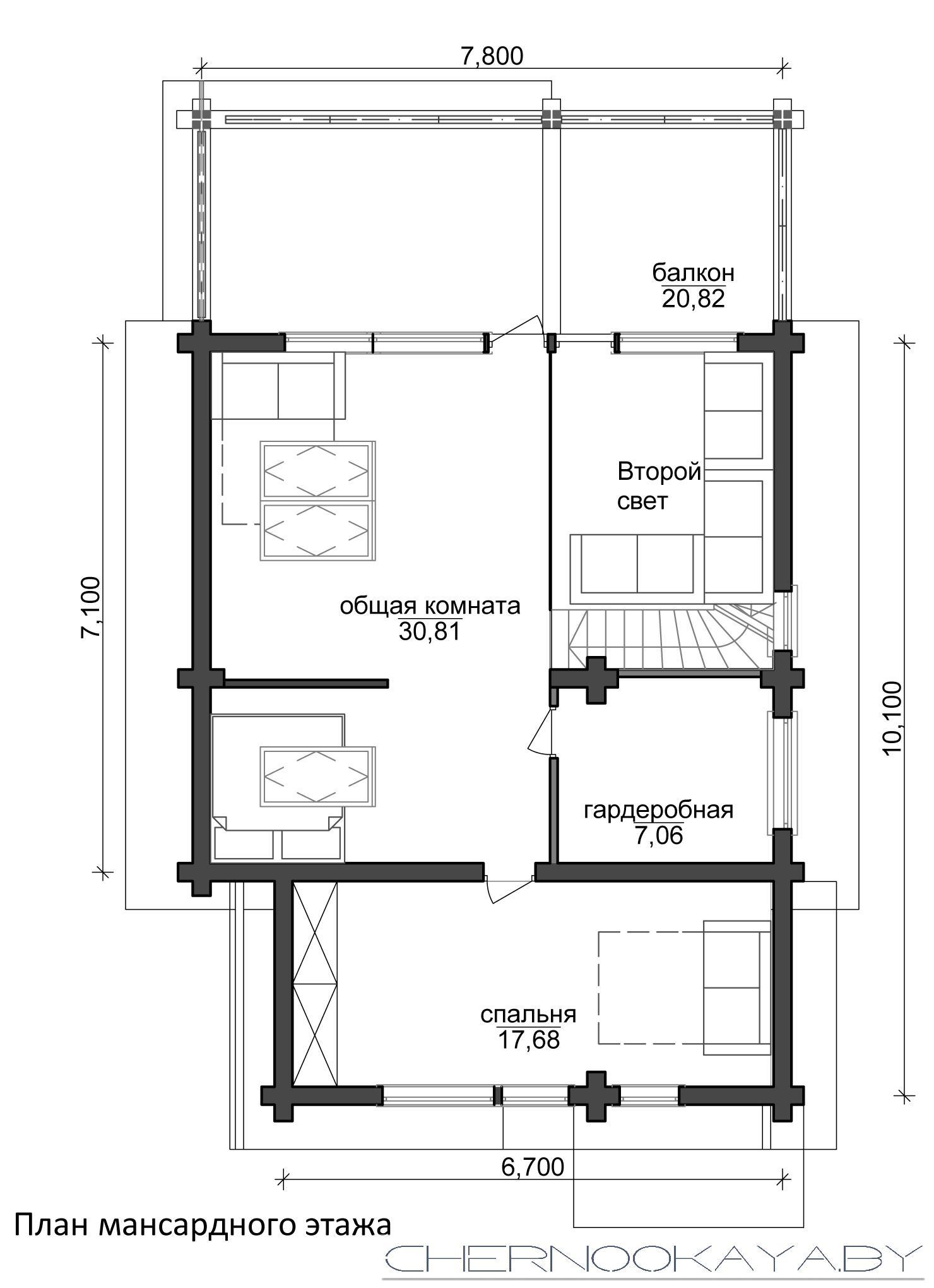 Проект деревянного гостевого дома-бани №1588 план