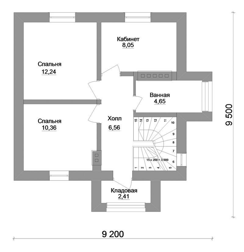 Проект одноэтажного жилого дома с мансардой на 2 с план