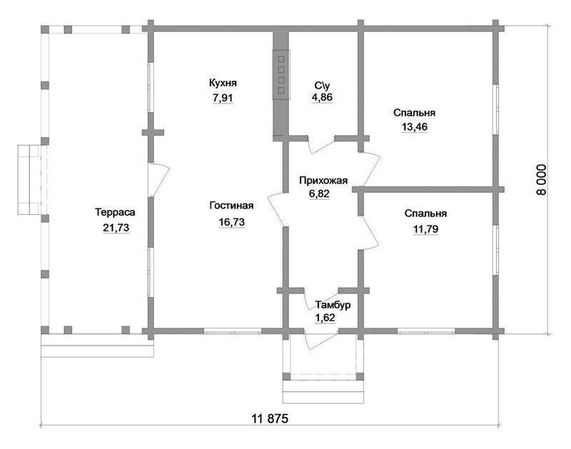 Готовый проект 1-этажного дома A-038 план