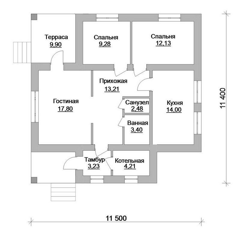 Готовый проект 1-этажного дома с котельной и кухне план