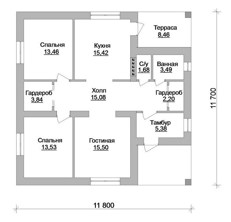 Эскизный проект 1-этажного коттеджа на 2 спальни,  план