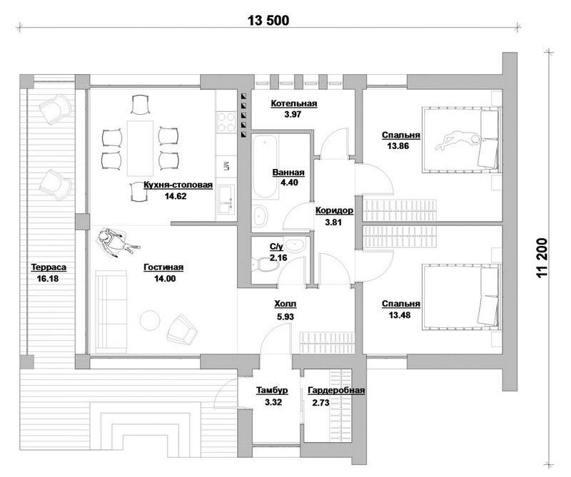 Эскизный проект 1-этажного коттеджа на 2 спальни с план