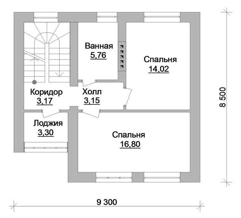 Эскизный проект 1-этажного коттеджа с мансардой и  план