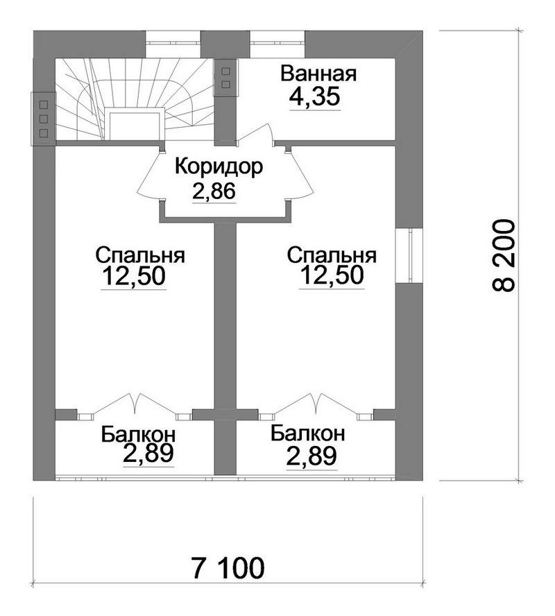 Эскизный проект 1-этажного коттеджа с мансардой, н план