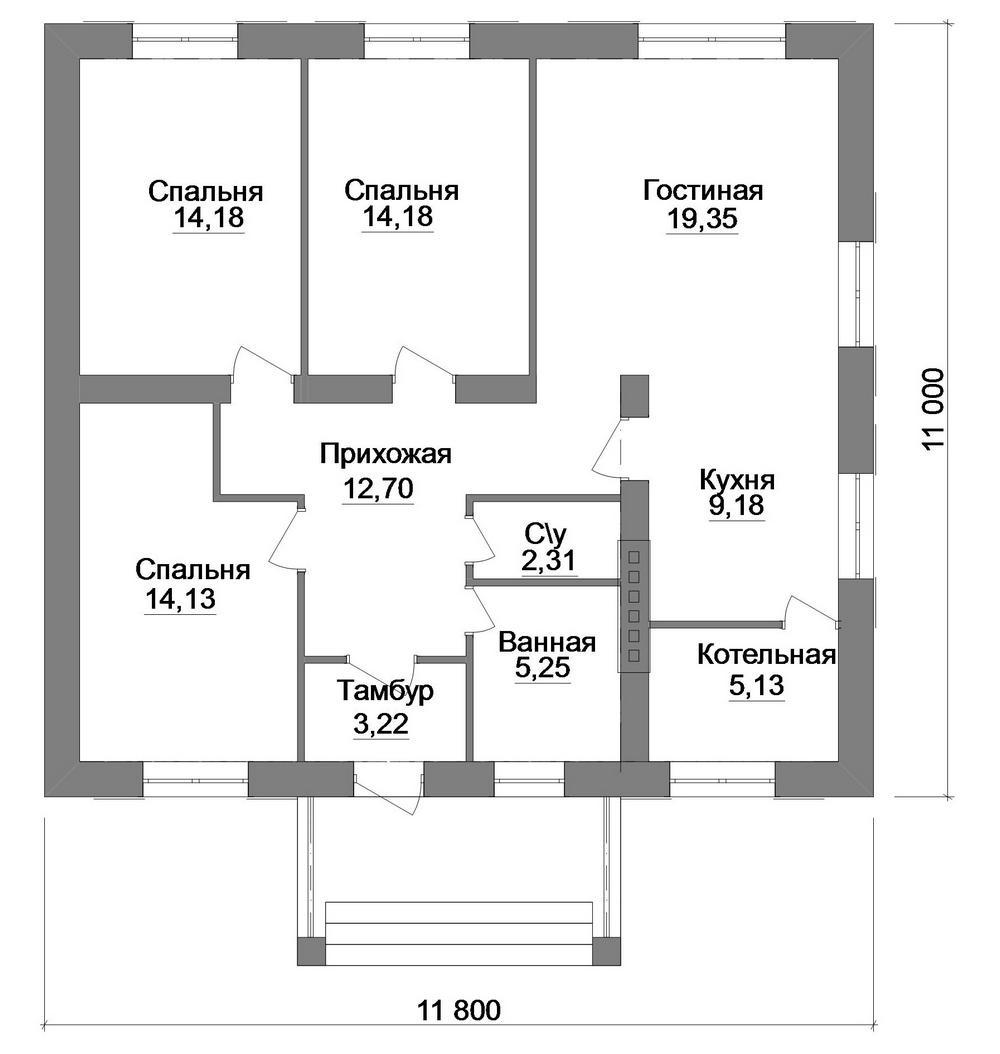 Проект одноэтажного дома с 3 спальнями и гостиной  план