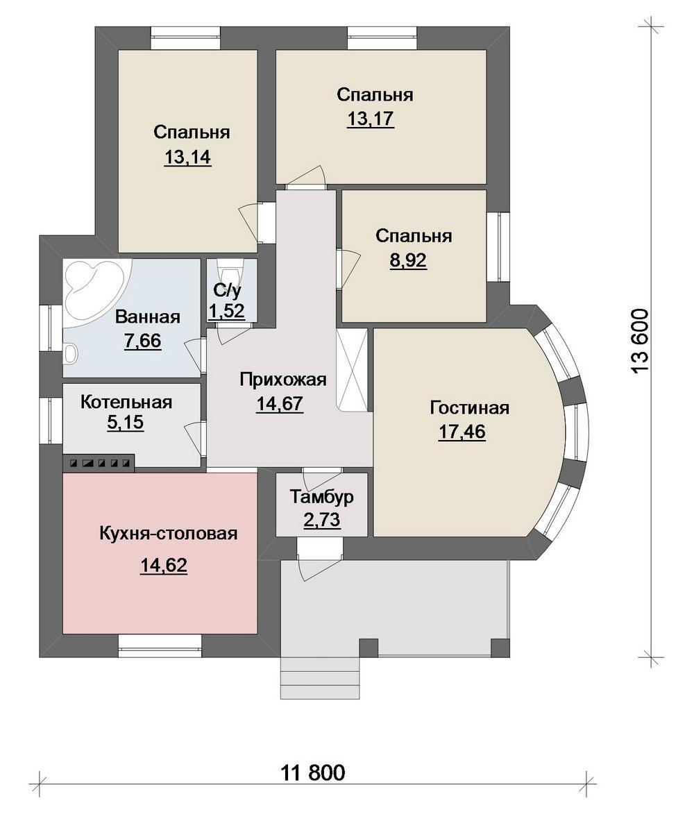 Готовый проект небольшого дома с 3 спальнями и гос план