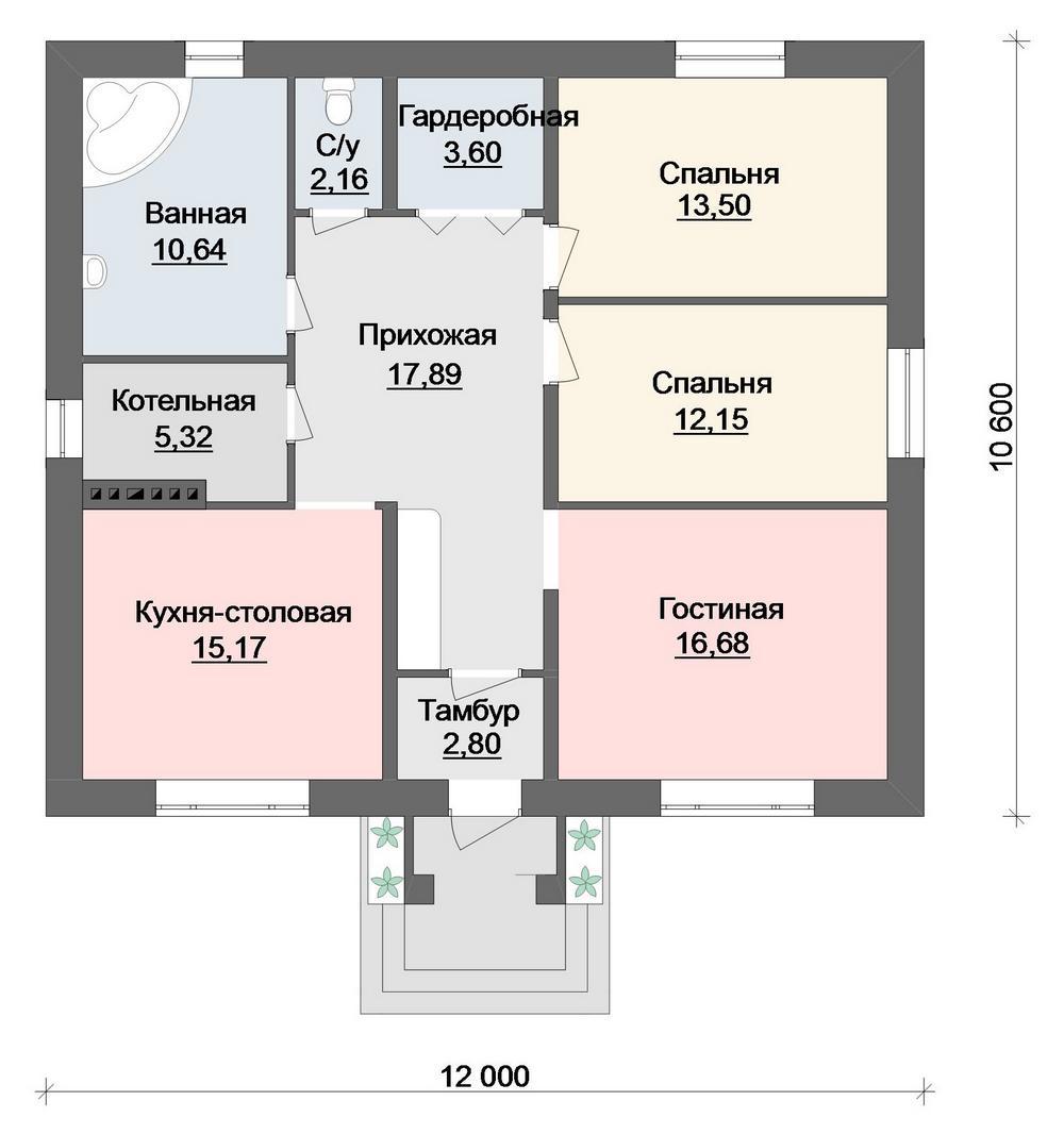 Проект одноэтажного дома с 2 спальнями и гостиной план