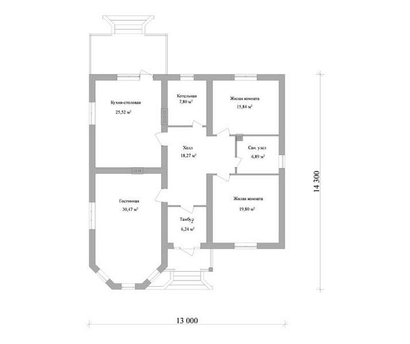 Проект удобного одноэтажного дома план
