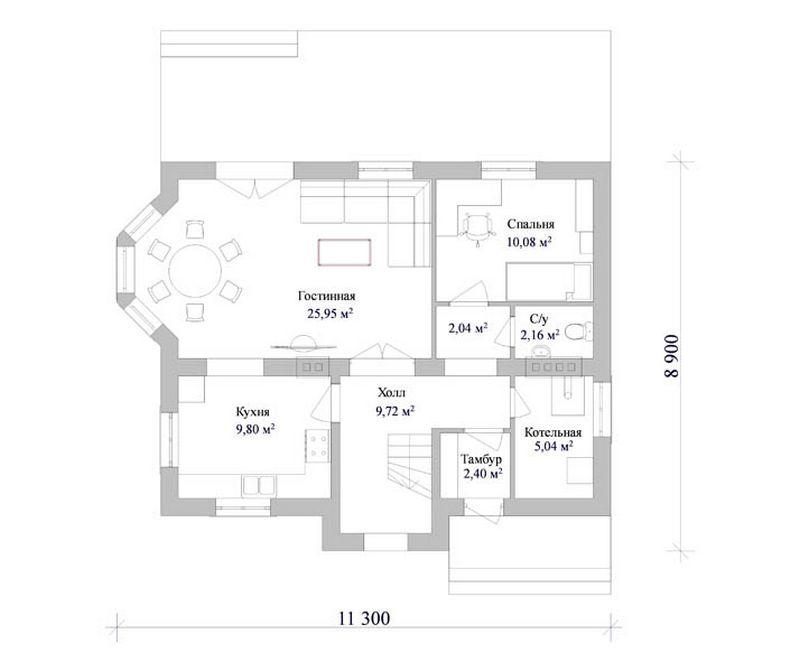 Типовой проект дома с мансардой план