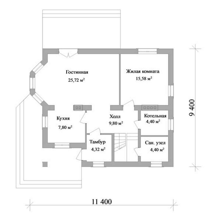 Проект дома с мансардным этажом план