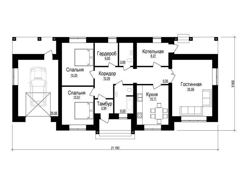 Типовой эскизный проект дома на две спальни план