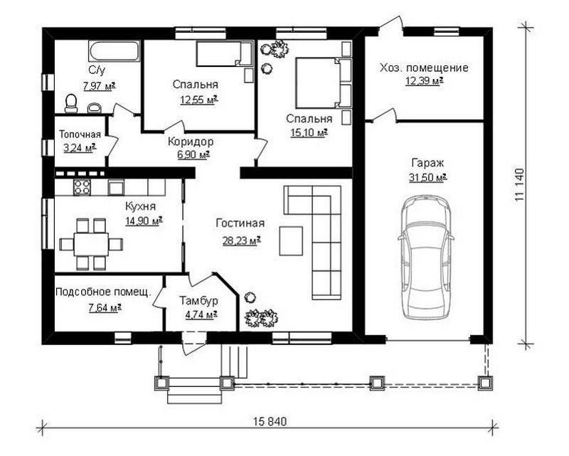 Типовой эскизный проект дома с гаражом план