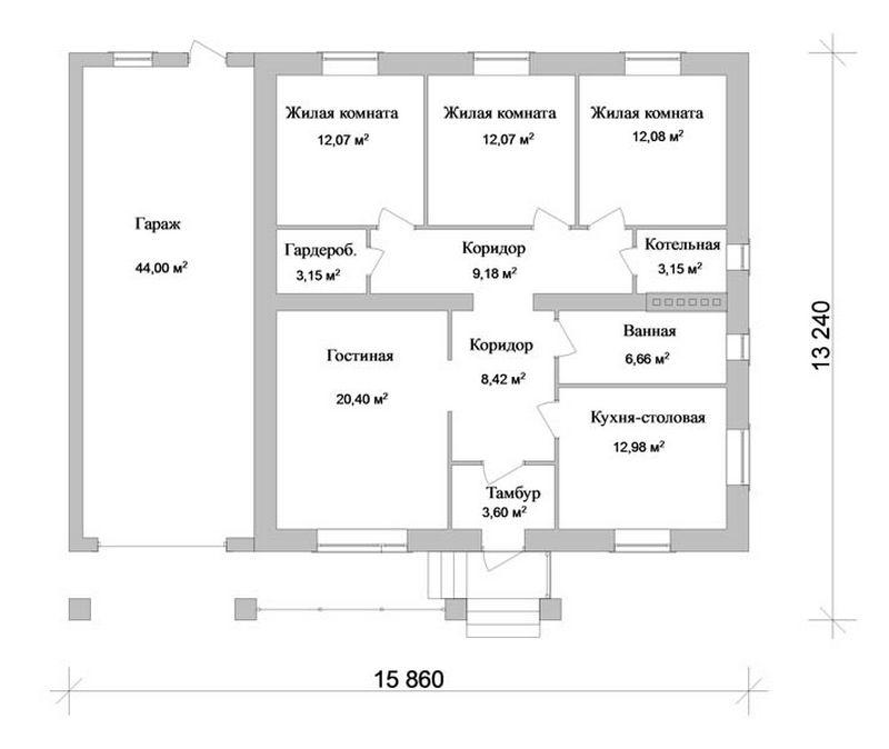 Проект одноэтажного коттеджа план