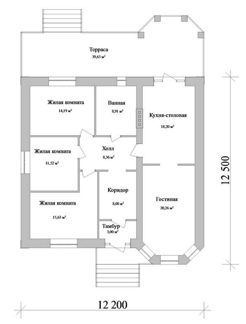 Эскизный проект одноэтажного коттеджа на три  план