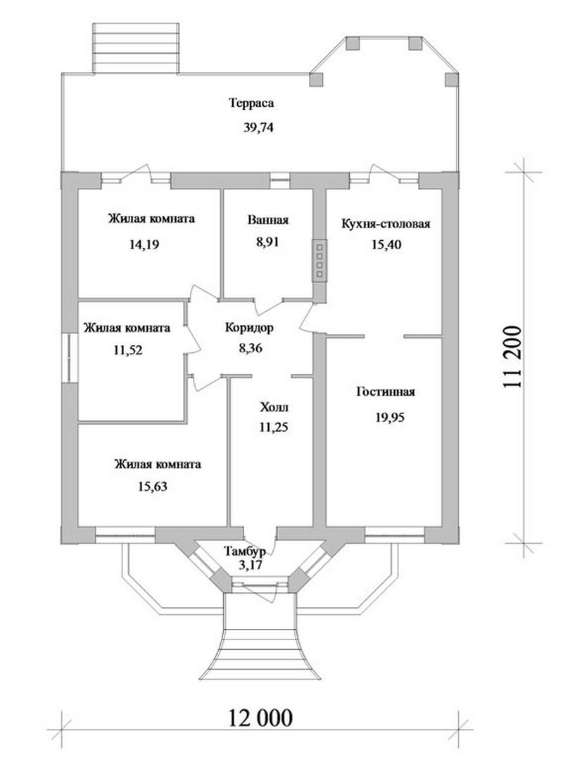 Проект одноэтажного дома с гостиной и кухней-столо план