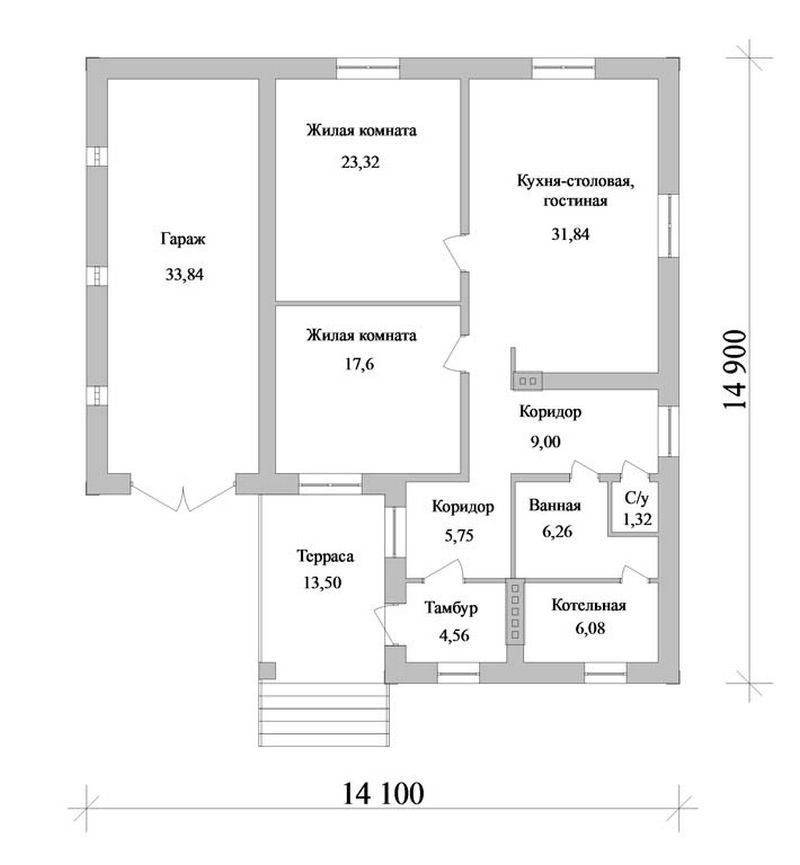 Проект одноэтажного дома на две спальни с кухней-с план