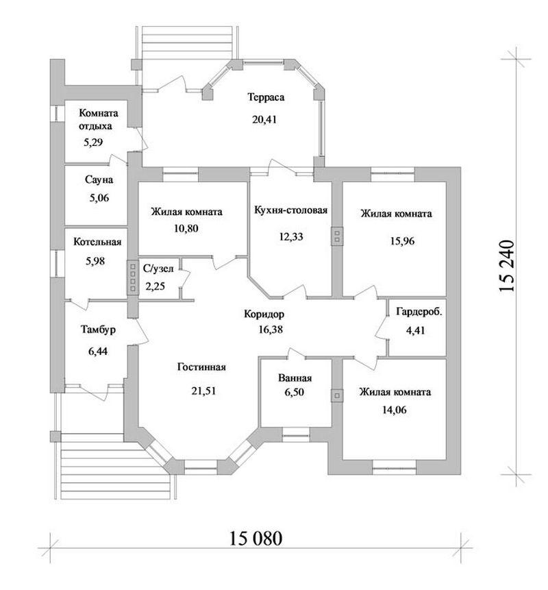 Проект одноэтажного дома с сауной и котельной план