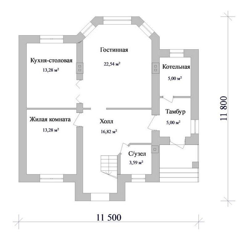 Проект одноэтажного дома с мансардой на четыре спа план
