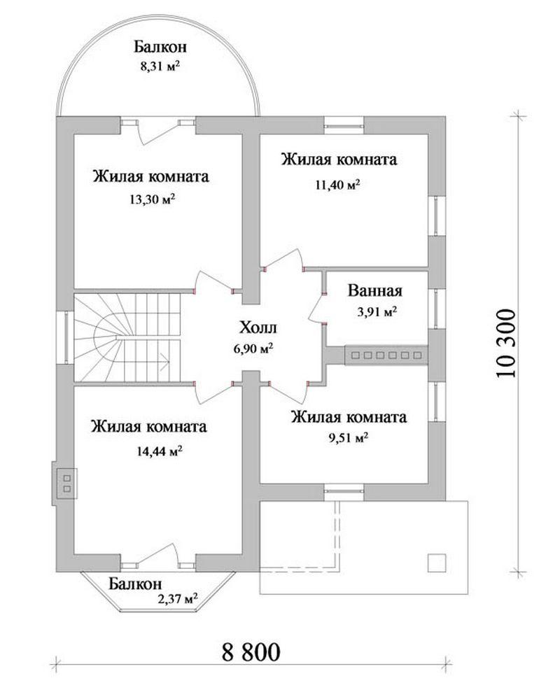 Проект одноэтажного коттеджа с мансардой план
