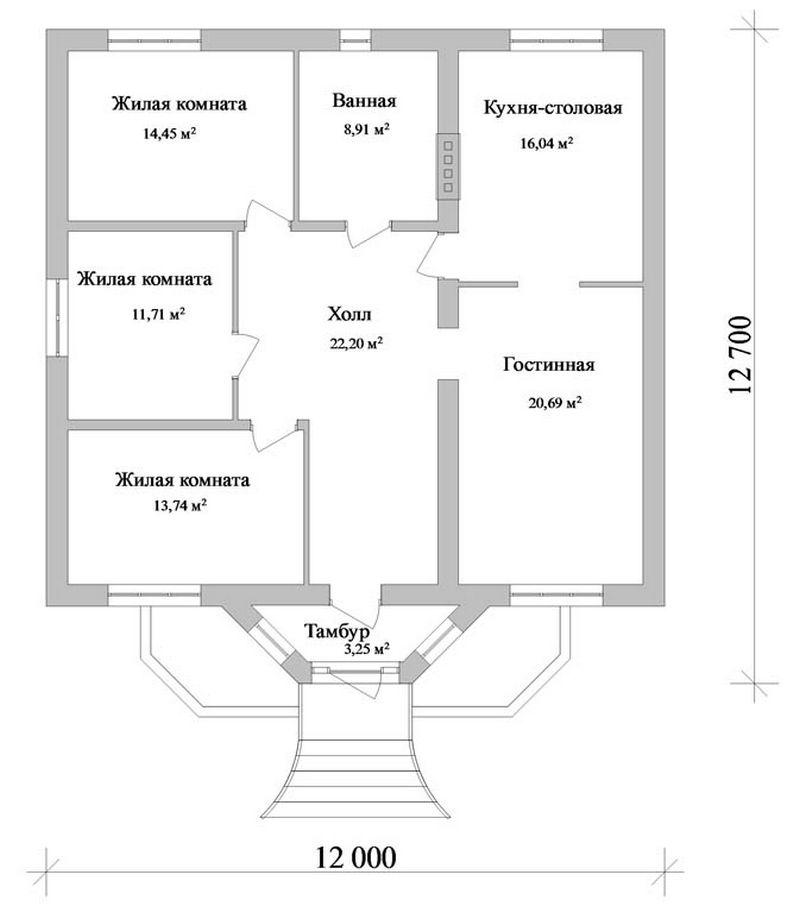 Типовой эскизный проект одноэтажного дома с тремя  план