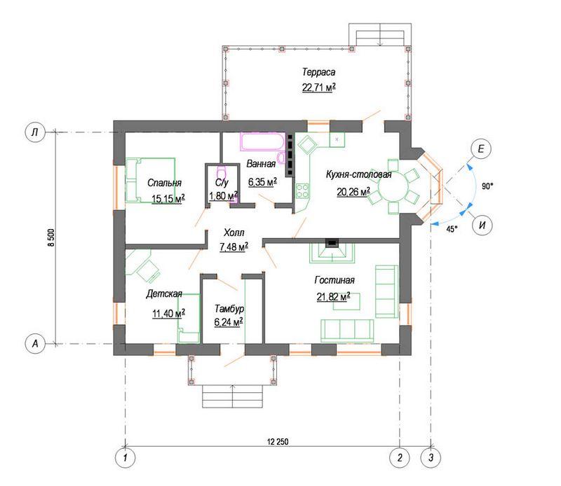 Проект комфортабельного одноэтажного дома план