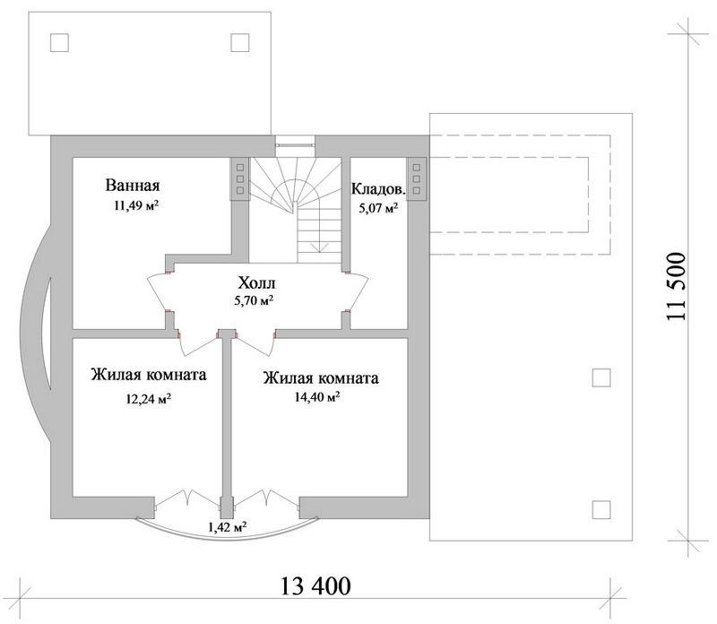 Проект одноэтажного коттеджа с мансардой и двумя с план