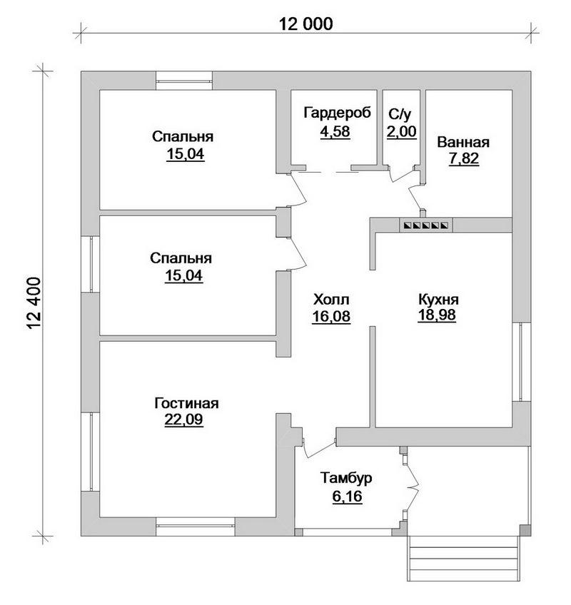 Готовый проект 1-этажного коттеджа на две спальни план