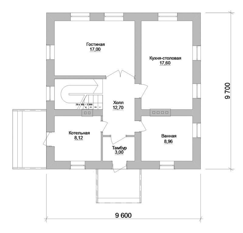 Готовый проект одноэтажного дома с мансардой, 3 сп план