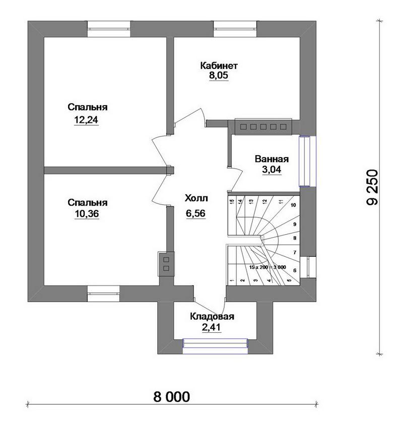 Готовый эскизный проект 1-этажного дома с мансардо план