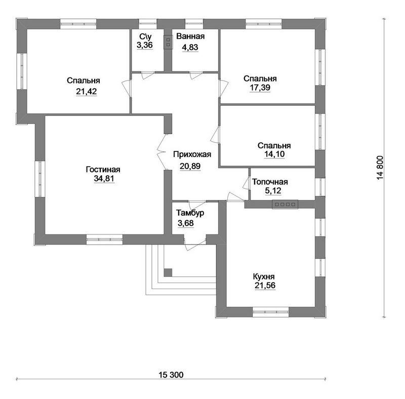 Готовый проект 1-этажного дома на три спальни план