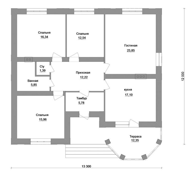 Проект 1-этажного дома на три спальни план