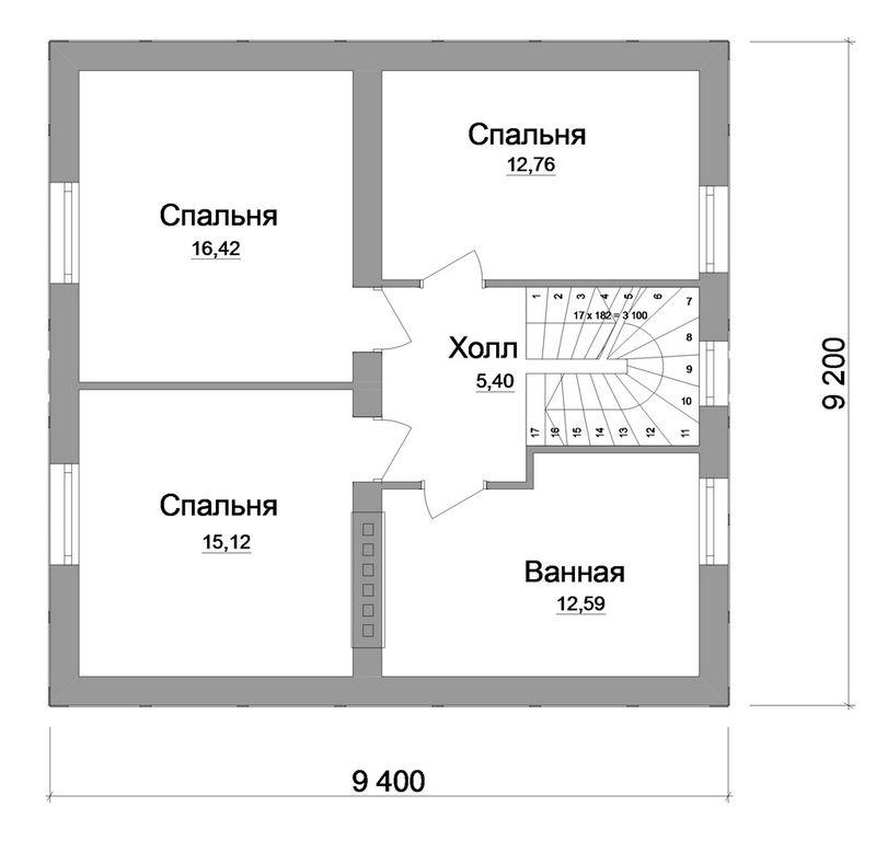 Готовый проект 1-этажного дома с мансардой и гарде план