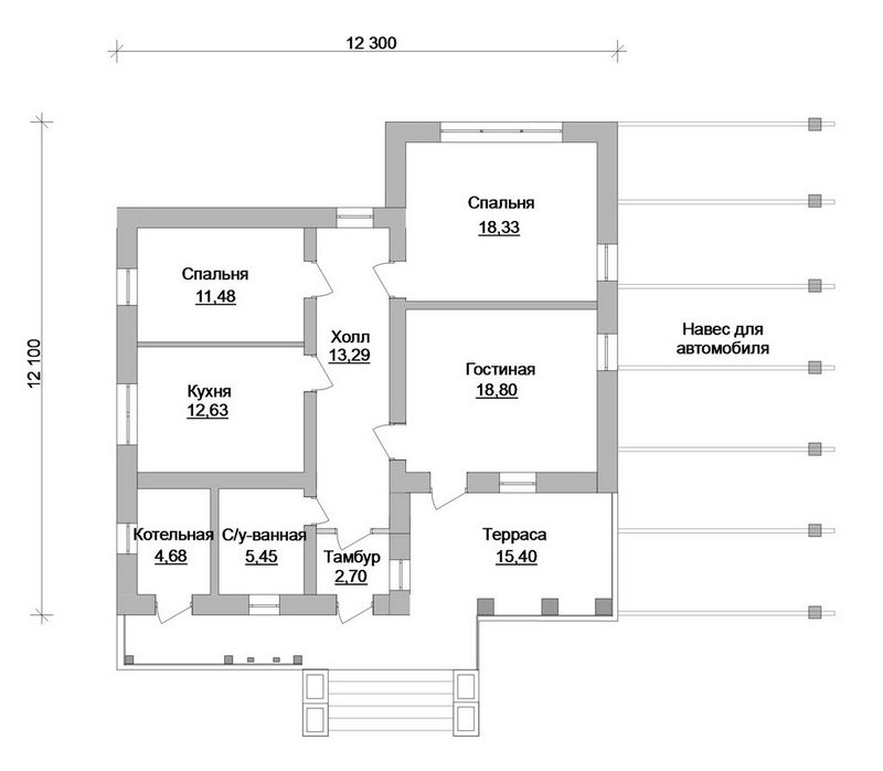Готовый эскизный проект 1-этажного коттеджа план
