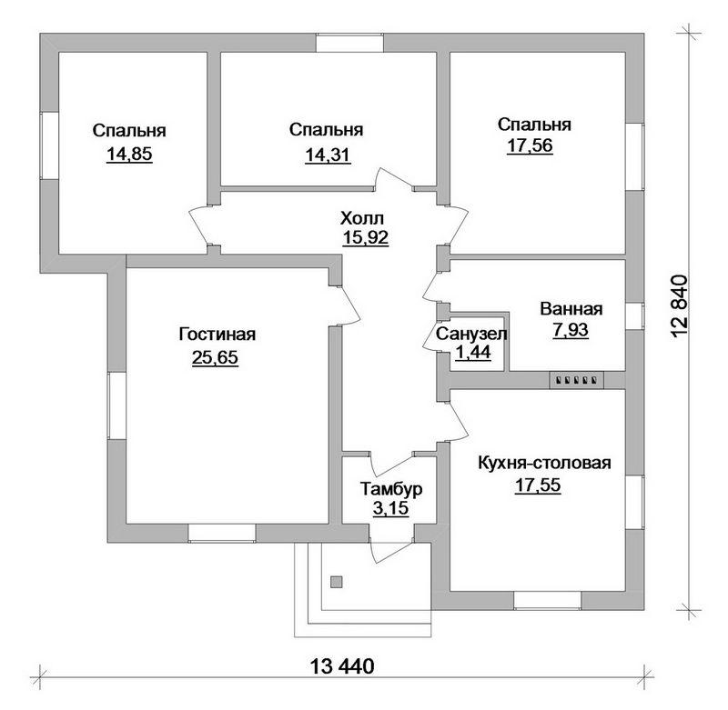 Готовый проект 1-этажного коттеджа план