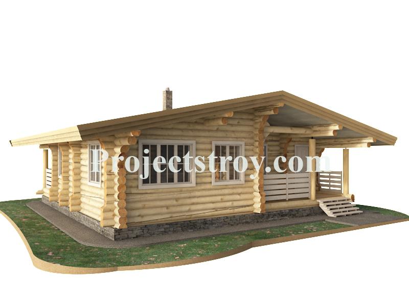 Одноэтажный деревянный дом - шале из бревна фасад