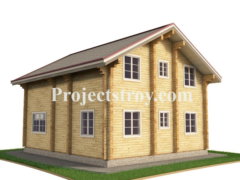 Проект разбрусовки дома из клееного бруса фасад
