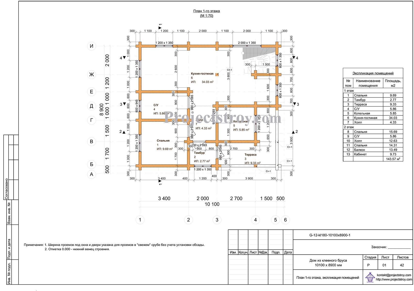 Проект разбрусовки дома из клееного бруса план