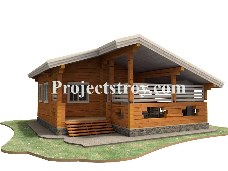 Проект бани из строганого бруса 200х200 мм фасад