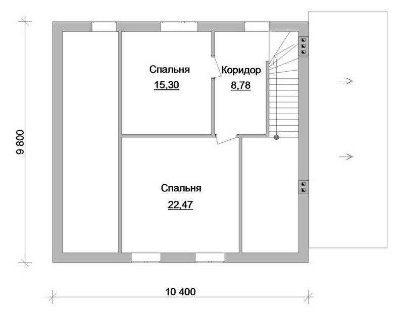 Эскизный проект одноэтажного дома с мансардой план