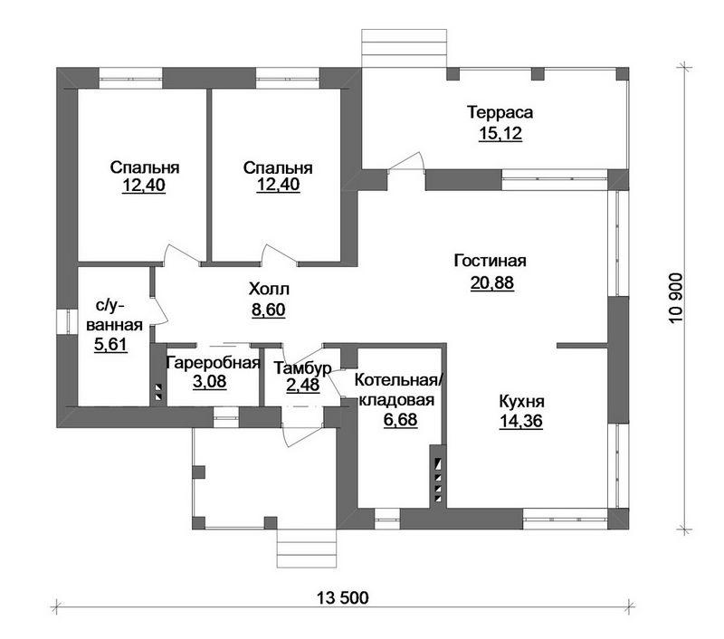 Эскизный проект одноэтажного дома  план