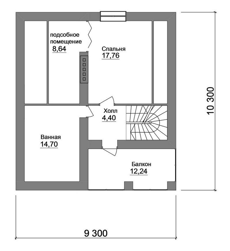 Типовой проект 1-этажного дома с мансардой план