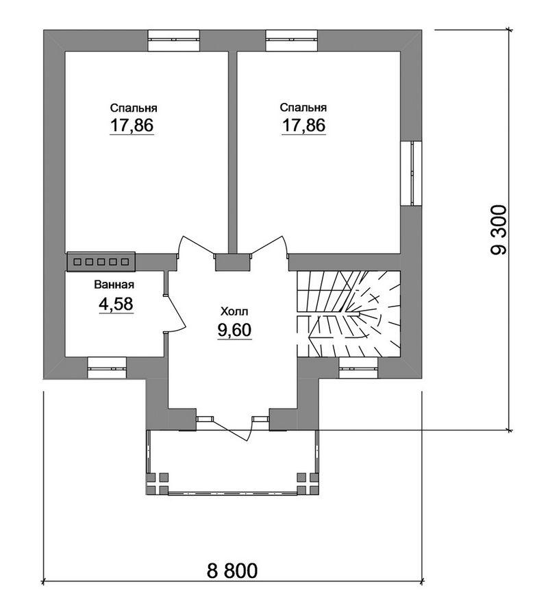Типовой эскизный проект одноэтажного дома  план