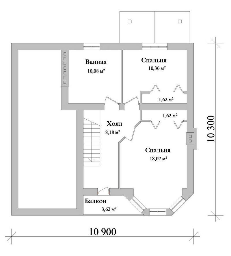 Эскизный проект одноэтажного дома с 3 спальнями план