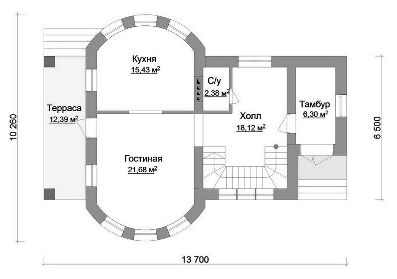 Эскизный проект двухэтажного дома план