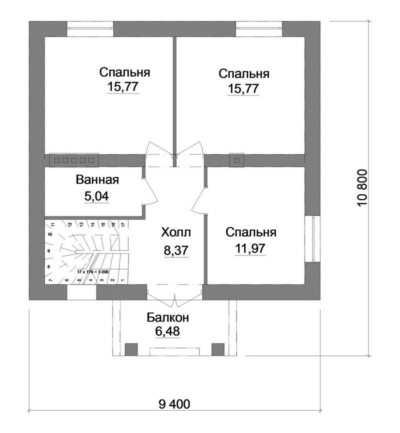 Проект одноэтажного дома с 3 спальнями и мансардой план