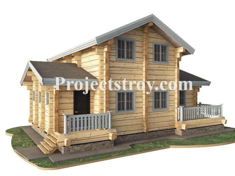 Проект деревянного дома с баней 12 на 9 метров фасад